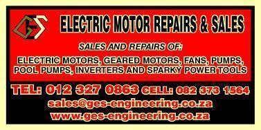 G e s electric motor repairs sales pty ltd pretoria for Electric motor repair company