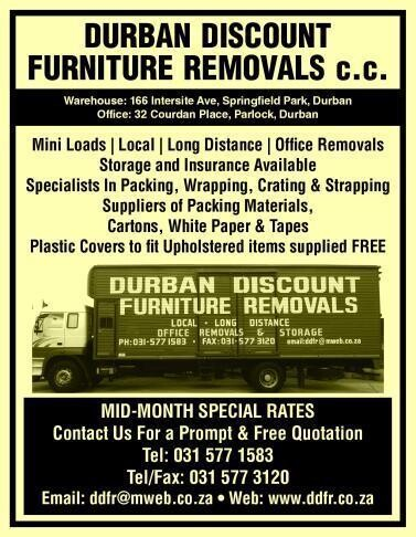 Durban discount furniture removals cc durban kwazulu for Affordable furniture removals taupo